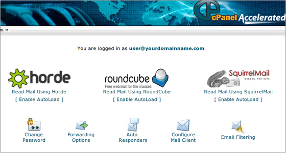 webmail main screen