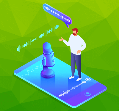 Illustration on a man using voice search on a phone