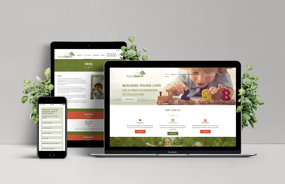 Laptop, Ipad and Phone showing example of Carlton House Childcare responsive website