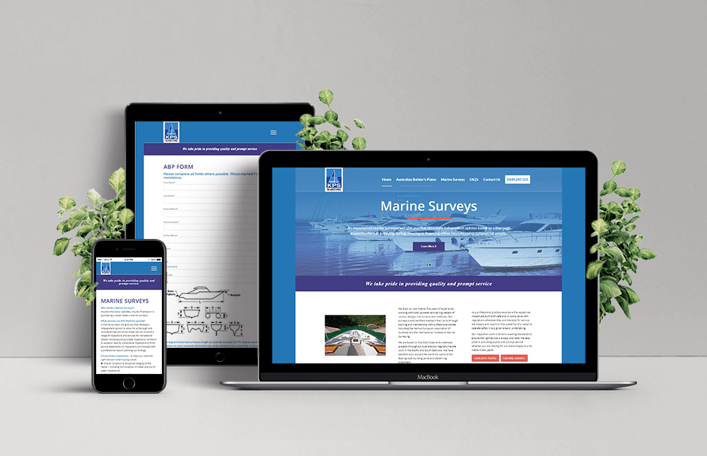 Laptop, Ipad and Phone showing example of KPS Maritime responsive website