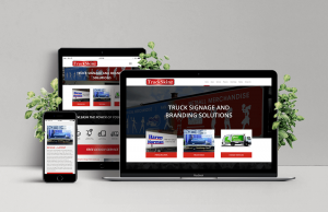 Laptop, Ipad and Phone showing example of TruckSkinz responsive website