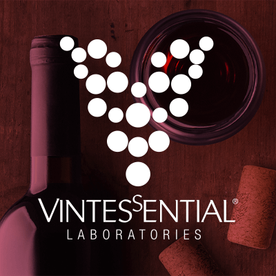 Vintessentials Logo overtop of red wine bottle and corks