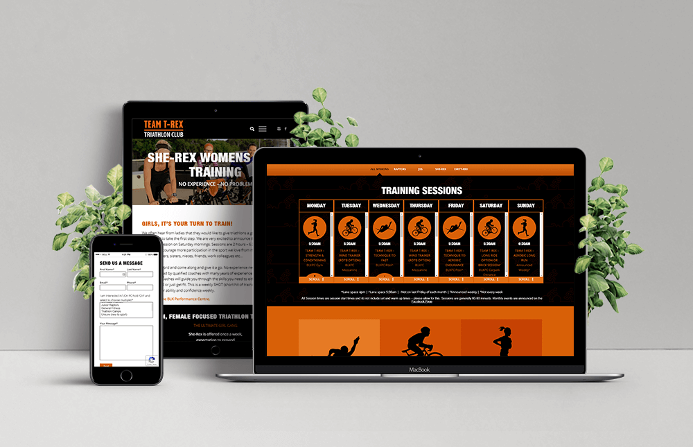 Team T-Rex Triathlon Mobile, Ipad and Laptop Responsive Website
